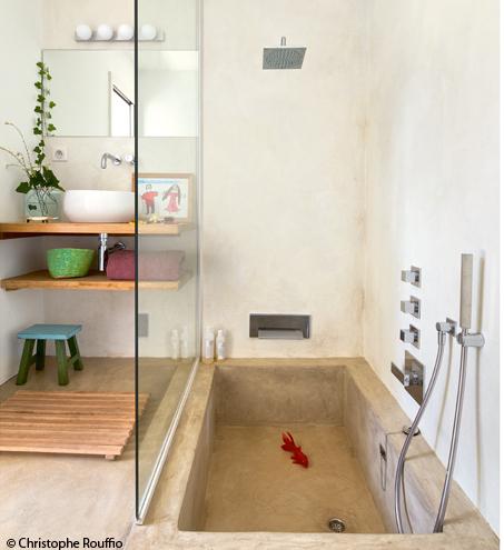 Baignoire douche maçonnée - Sur mesure